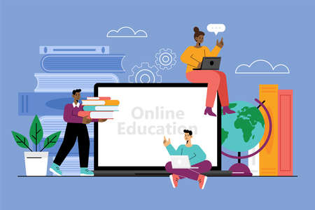 Online education concept with laptop computer, books and students. Vector illustration