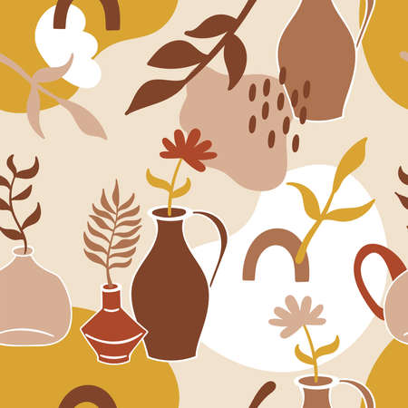 Seamless pattern with abstract shapes, home decor vase and leaves. Childish background for fabric, wrapping paper, textile, wallpaper and apparel. Vector Illustration Ilustrace