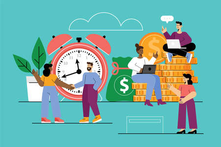 Successful investment and time is money business concept with finance team. Vector illustration