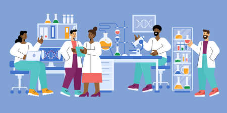 Scientists in science lab working on medical, chemical or biological laboratory reseach and test. Vector illustration Ilustrace