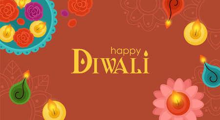 Diwali Hindu festival concept with diya lamps and candles. Vector illustration Ilustração