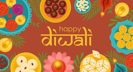 Diwali Hindu festival concept with diya lamps, sweet dessert food and candles. Vector illustration