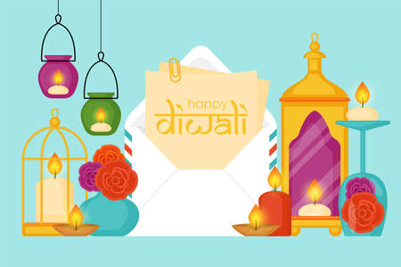 Diwali Hindu festival concept with envelope, diya lamps and candles home decor. Vector illustration