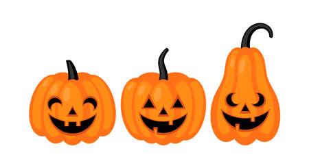 Cute Halloween jack o lantern pumpkin set. Vector illustration Ilustração