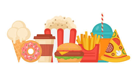 Fast food concept with hamburger, french fries, pop corn, donuts, pizza and ice cream. Vector illustration Ilustração
