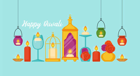 Diwali Hindu festival concept with diya lamps and candles home decor. Vector illustration