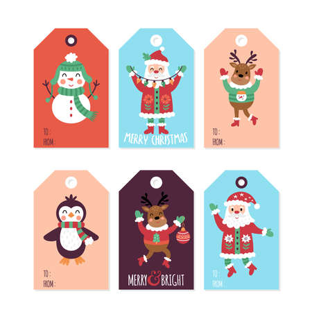 Christmas holiday cute gift tags and labels set. Childish print. Vector Illustration