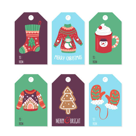 Christmas holiday cute gift tags and labels set with ugly sweater, cookies and hot chocolate cup. Childish print. Vector Illustration
