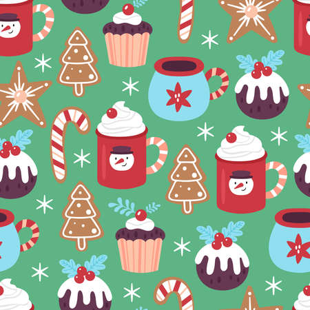 Seamless pattern for Christmas holiday with cute hot chocolate cup amd cookies. Childish background for fabric, wrapping paper, textile, wallpaper and greeting cards. Vector Illustration Ilustração