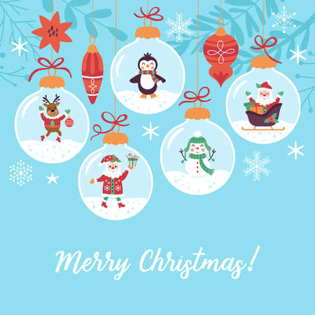 Christmas holiday cute greeting card design. Childish print for cards, poster and background. Vector Illustration