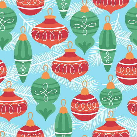 Seamless pattern for Christmas holiday with cute ornament. Childish background for fabric, wrapping paper, textile, wallpaper and greeting cards. Vector Illustration