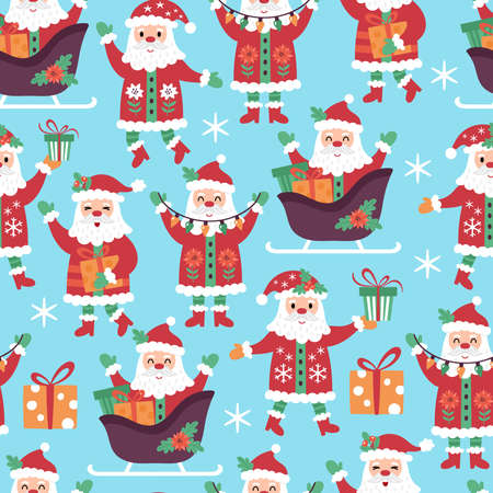 Seamless pattern for Christmas holiday with cute Santa Claus character. Childish background for fabric, wrapping paper, textile, wallpaper and greeting cards. Vector Illustration Ilustração