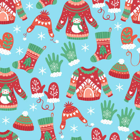 Seamless pattern for Christmas holiday with warm sweater, hat and mittens. Childish background for fabric, wrapping paper, textile, wallpaper and greeting cards. Vector Illustration