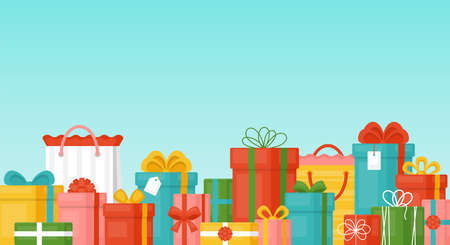 Sale concept with lots of gift boxes. Discount and promotion advertising shopping background Ilustração
