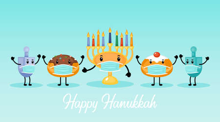 Hanukkah holiday banner design with menorah, traditional doughnuts and dreidel funny cartoon characters with face medical mask Ilustração