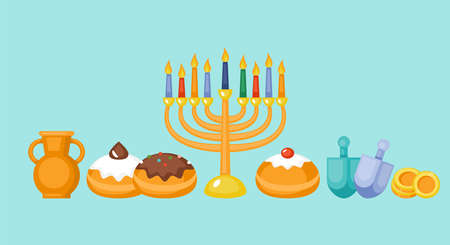 Hanukkah holiday greeting card design with menorah, sufganiyot and spinning top.