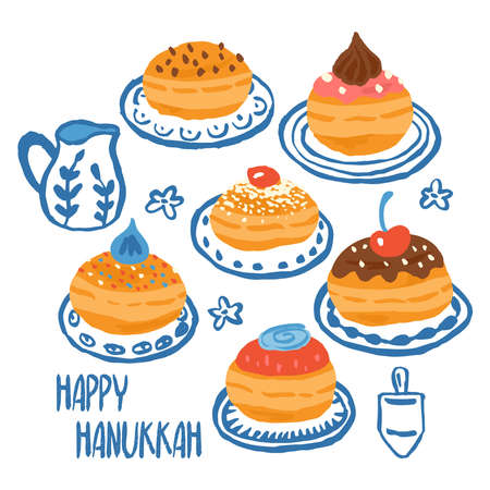 Hanukkah greeting card design with hand drawn traditional donuts