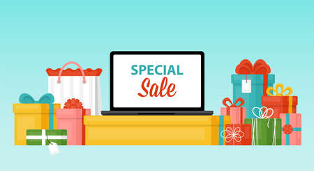 Big sale concept with laptop computer and gift boxes. Discount and promotion advertising shopping online Ilustração