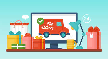 Fast delivery concept with computer and gift boxes on desk. Shopping online and sale promotion. Ilustração