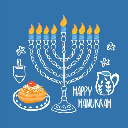 Hanukkah greeting card design with hand drawn menorah and traditional donuts Ilustração