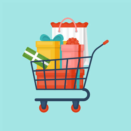 Shopping cart with gift boxes. Sale promotion.