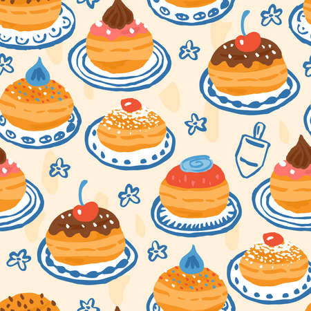 Hanukkah seamless pattern design with hand drawn traditional donuts