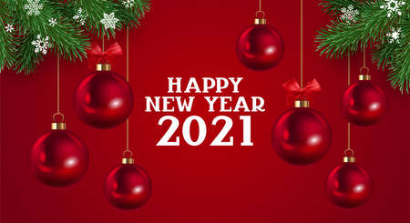 Happy New Year 2021 elegant luxury greeting card, banner or poster design template with red Christmas ornament ball and fir tree. Vector illustration Ilustração