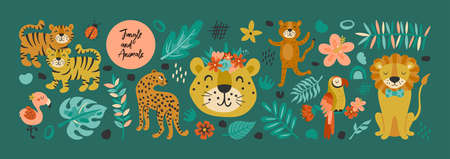 Jungle animals cute set with tiger, leopard, flamingo, lion and parrot. Childish print for cards, stickers, background and poster design
