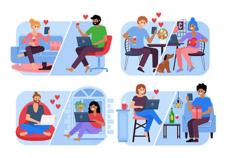 Romantic couples online dating set for graphic and web design. Young people chatting on laptop computer and smart phone. Valentine's day concept
