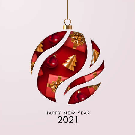 Happy New Year 2021 greeting card, banner or poster design template with paper cut bauble ornament and decorations. Vector illustration