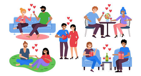 Romantic couples dating set for graphic and web design. Valentine's day concept
