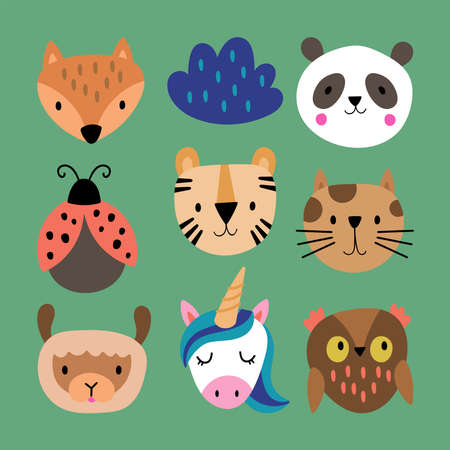 Cute animals set. Childish print for cards, stickers, apparel and nursery decoration. Vector Illustration