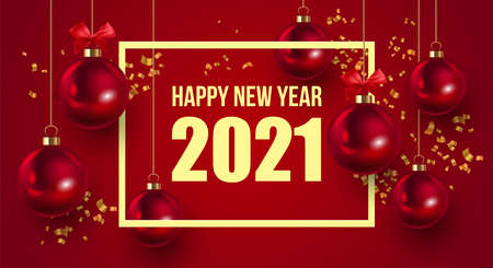 Happy New Year 2021 elegant luxury greeting card, banner or poster design template with red Christmas ornament ball and gold confetti. Vector illustration