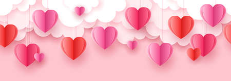 Valentine's day seamless background for social media advertising, invitation or poster design with paper art cut heart shapes and clouds. Vector illustration Ilustração