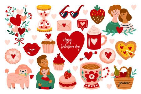 Valentine's day cute elements set. Childish print for cards, stickers, apparel and banner design Ilustração
