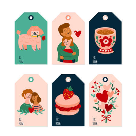 Valentine's day cute gift tags and labels set. Childish print. Vector Illustration