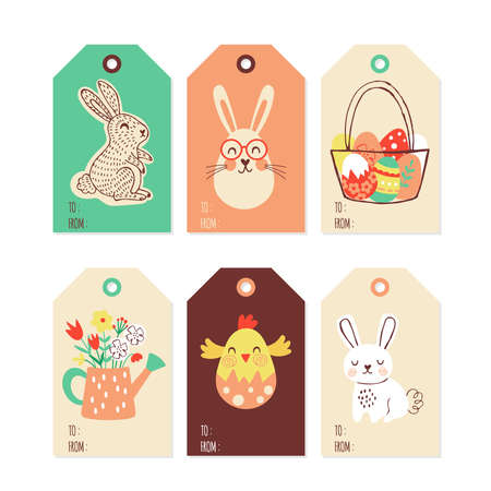 Easter holiday cute gift tags and labels set. Childish print. Vector Illustration
