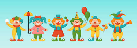 Purim holiday banner design with cute funny cartoon clowns characters Ilustração