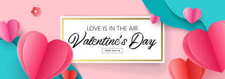 Valentine's day holiday sale banner template for social media advertising, invitation or poster design with paper art cut heart shapes. Vector illustration