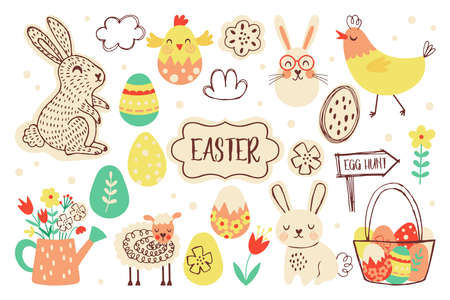 Easter holiday cute element set. Childish print for cards, stickers, banner and decoration