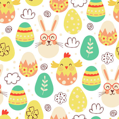 Seamless pattern for Easter holiday with cute eggs. Childish background for fabric, wrapping paper, textile, wallpaper and greeting cards. Vector Illustration Ilustração