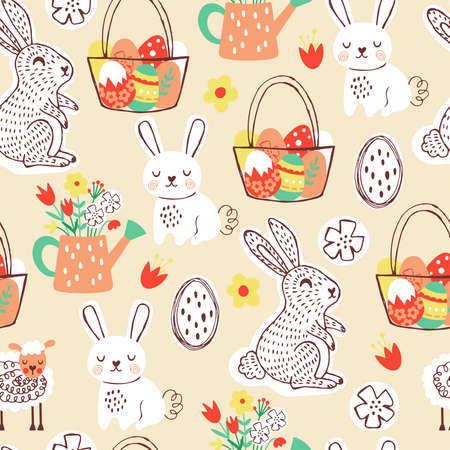 Seamless pattern for Easter holiday with cute hand drawn bunny. Childish background for fabric, wrapping paper, textile, wallpaper and greeting cards. Vector Illustration Ilustração