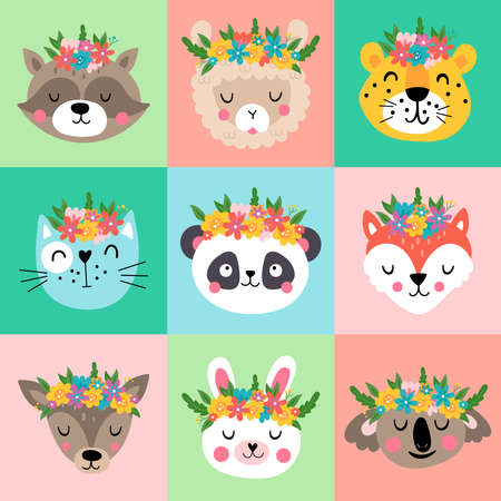 Cute animals heads with flowers set. Childish print for spring cards, stickers, apparel and decoration Illustration