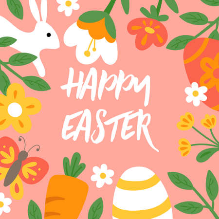 Easter holiday cute greeting card. Childish print for cards, poster, banner and background Illustration
