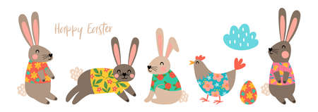 Easter holiday cute banner design. Childish print for greeting card, banner and decoration Illustration