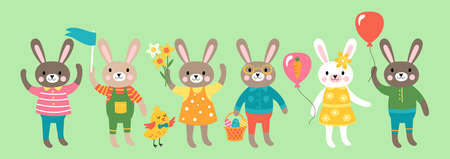Easter holiday cute bunny character set. Childish print for cards, nvitations, stickers and decoration