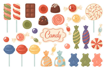 Sweets and sugar candy cute set. Childish print for stickers, cards and posters.