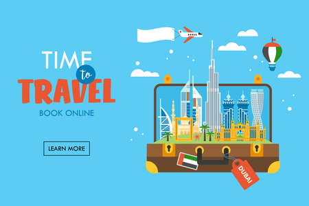 Travel to Dubai concept with skyline and famous buildings landmark in suitcase