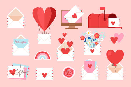 Valentine's day love letter and email icons set for web and graphic design