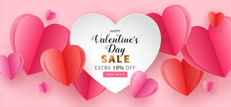 Valentine's day seamless background for social media advertising, invitation or poster design with paper art cut heart shapes. Vector illustration Illustration